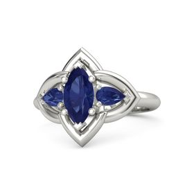 Marquise Sapphire Platinum Ring with Sapphire