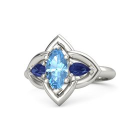 Marquise Blue Topaz Platinum Ring with Sapphire