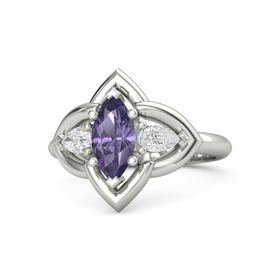Marquise Iolite Platinum Ring with White Sapphire