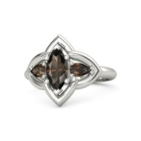 Marquise Smoky Quartz Platinum Ring with Smoky Quartz