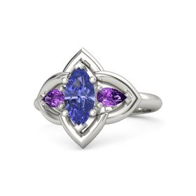 Marquise Tanzanite Platinum Ring with Amethyst