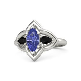 Marquise Tanzanite Platinum Ring with Black Onyx