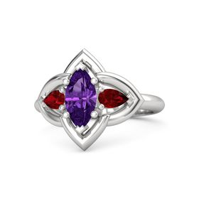 Marquise Amethyst Sterling Silver Ring with Ruby