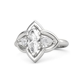 Marquise Rock Crystal Sterling Silver Ring with White Sapphire