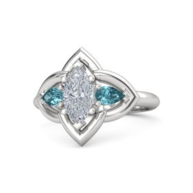 Marquise Diamond Sterling Silver Ring with London Blue Topaz