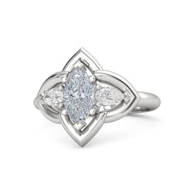Marquise Diamond Sterling Silver Ring with White Sapphire