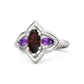 Marquise Red Garnet Sterling Silver Ring with Amethyst