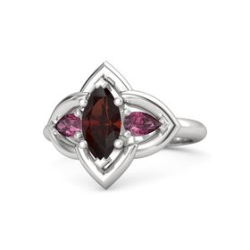Marquise Red Garnet Sterling Silver Ring with Rhodolite Garnet