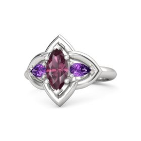 Marquise Rhodolite Garnet Sterling Silver Ring with Amethyst
