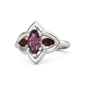 Marquise Rhodolite Garnet Sterling Silver Ring with Red Garnet