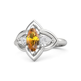 Marquise Citrine Sterling Silver Ring with White Sapphire