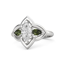 Marquise White Sapphire Sterling Silver Ring with Green Tourmaline