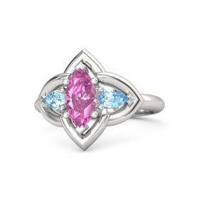 Marquise Pink Sapphire Sterling Silver Ring with Blue Topaz