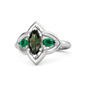Marquise Green Tourmaline Sterling Silver Ring with Emerald