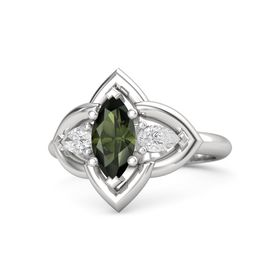 Marquise Green Tourmaline Sterling Silver Ring with White Sapphire