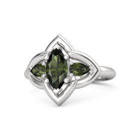 Marquise Green Tourmaline Sterling Silver Ring with Green Tourmaline