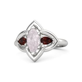 Marquise Rose Quartz Sterling Silver Ring with Red Garnet