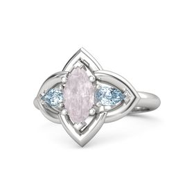 Marquise Rose Quartz Sterling Silver Ring with Aquamarine