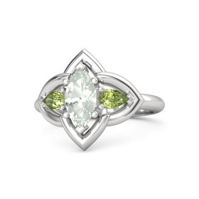 Marquise Green Amethyst Sterling Silver Ring with Peridot