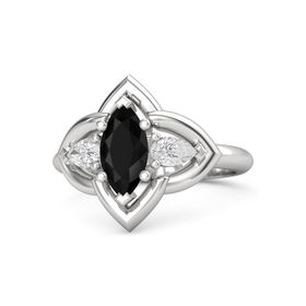 Marquise Black Onyx Sterling Silver Ring with White Sapphire