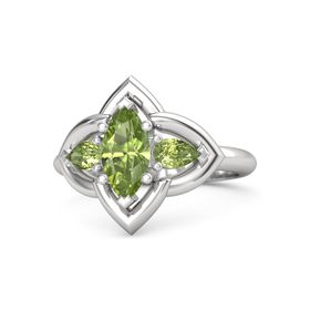 Marquise Peridot Sterling Silver Ring with Peridot
