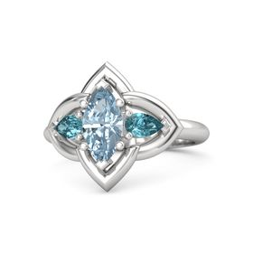 Marquise Aquamarine Sterling Silver Ring with London Blue Topaz