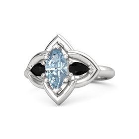 Marquise Aquamarine Sterling Silver Ring with Black Onyx