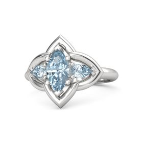 Marquise Aquamarine Sterling Silver Ring with Aquamarine