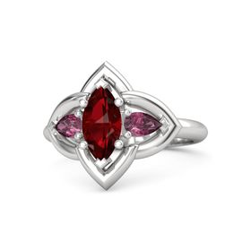 Marquise Ruby Sterling Silver Ring with Rhodolite Garnet