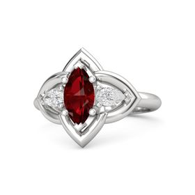 Marquise Ruby Sterling Silver Ring with White Sapphire