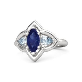 Marquise Sapphire Sterling Silver Ring with Aquamarine