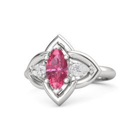 Marquise Pink Tourmaline Sterling Silver Ring with White Sapphire