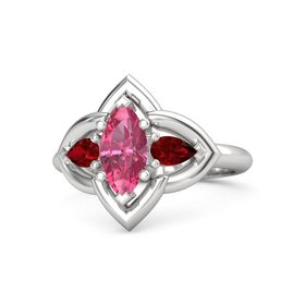 Marquise Pink Tourmaline Sterling Silver Ring with Ruby