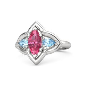 Marquise Pink Tourmaline Sterling Silver Ring with Blue Topaz