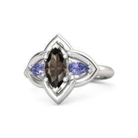 Marquise Smoky Quartz Sterling Silver Ring with Tanzanite