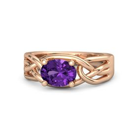 Oval Amethyst 14K Rose Gold Ring