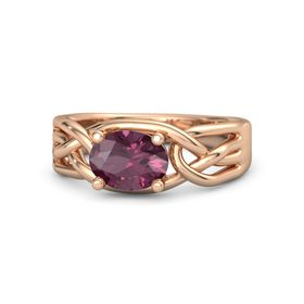 Oval Rhodolite Garnet 14K Rose Gold Ring