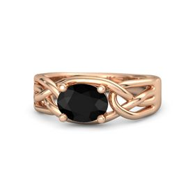 Oval Black Onyx 14K Rose Gold Ring