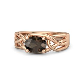 Oval Smoky Quartz 14K Rose Gold Ring