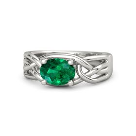 Oval Emerald 14K White Gold Ring