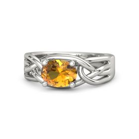 Oval Citrine 14K White Gold Ring