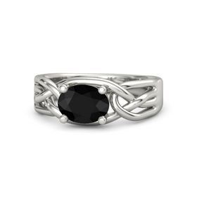 Oval Black Onyx 14K White Gold Ring