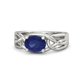 Oval Sapphire 14K White Gold Ring