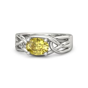 Oval Yellow Sapphire 14K White Gold Ring