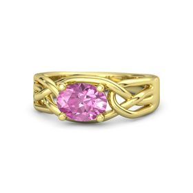 Oval Pink Sapphire 14K Yellow Gold Ring