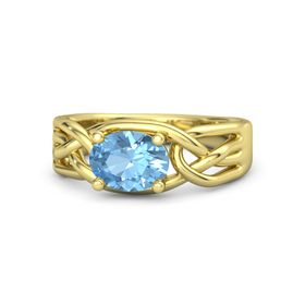 Oval Blue Topaz 14K Yellow Gold Ring