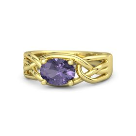 Oval Iolite 14K Yellow Gold Ring