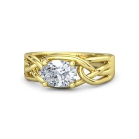 Oval Diamond 18K Yellow Gold Ring