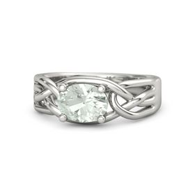 Oval Green Amethyst Palladium Ring