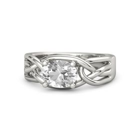 Oval Rock Crystal Platinum Ring